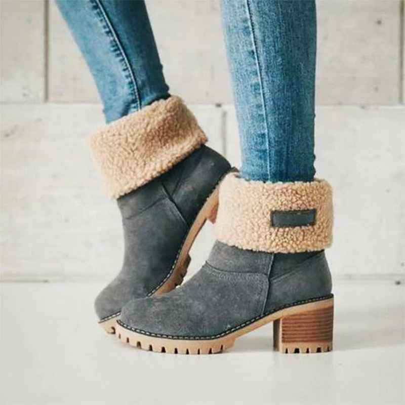 Daokfpo New Women Boots Winter Outdoor Keep Warm Fur Boots