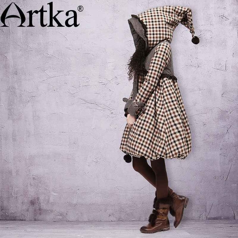 Artka Women s Winter Pointed Hood Rabbit Fur Plaid Embroidery Bow