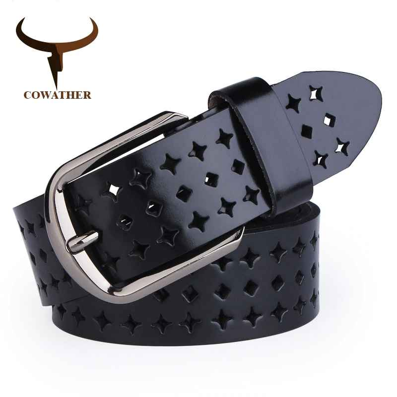 Cowather 2019 New Women Cow Genuine Leather Belts Hollow Korea