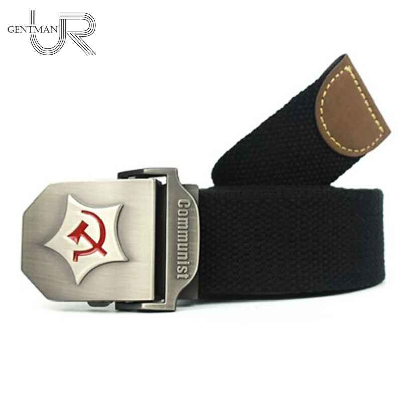New Men Women Thicken Canvas Belt Communist Design Military Belts
