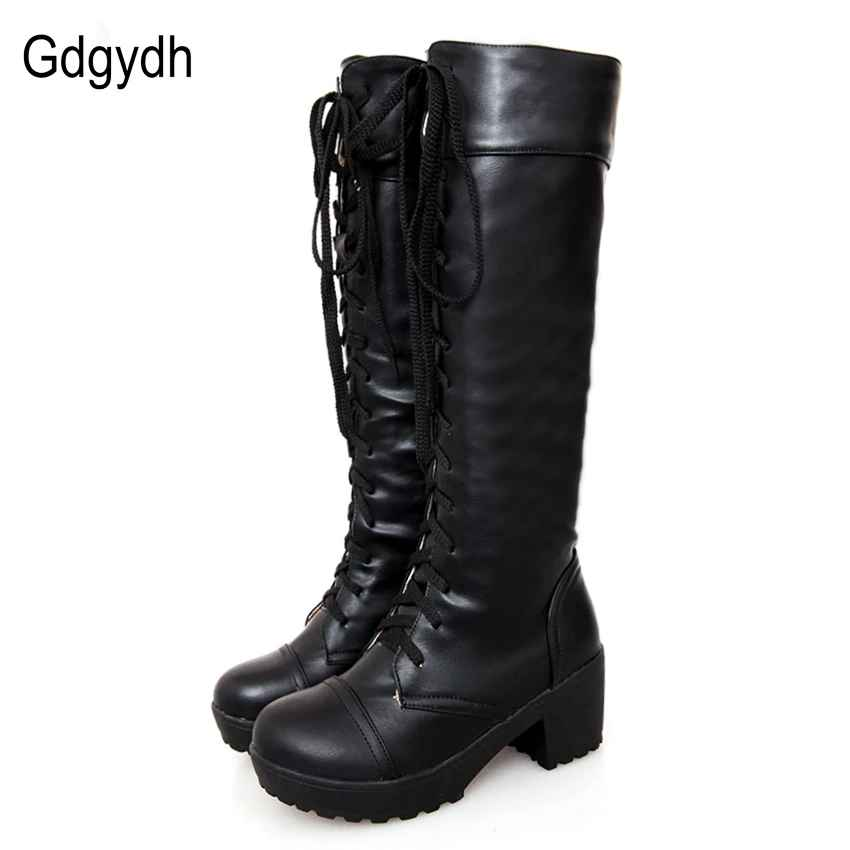 Gdgydh Large Size 43 Lace Up Knee High Boots Women