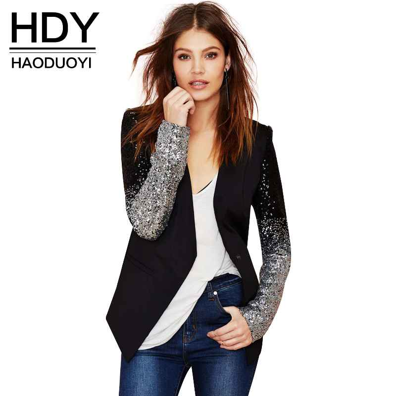 Autumn Sequin Patchwork Sleeve Causal Suit Feminino Slim Fit Club