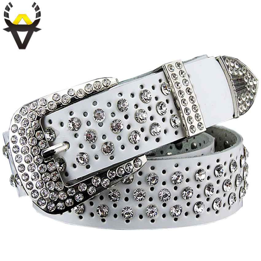 Fashion Rhinestone Genuine Leather Belts For Women Luxury Pin Buckle