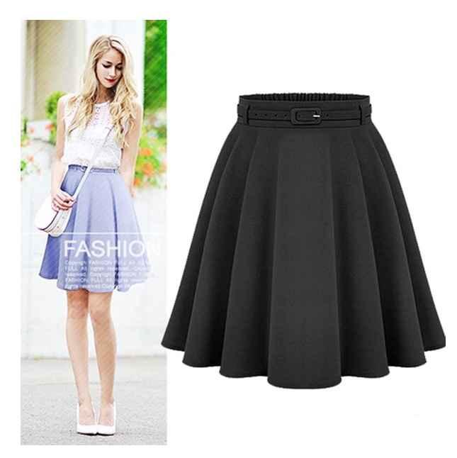 Skirts womens casual medium knee-length skirts retro stylish female high