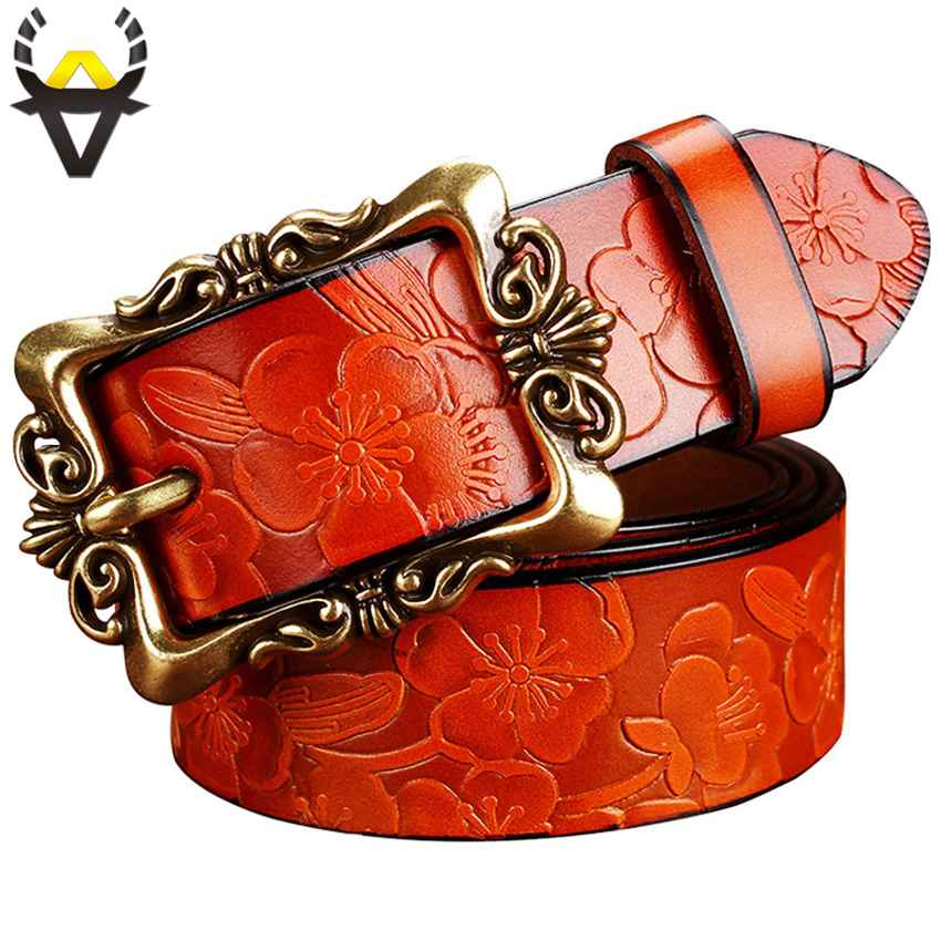 Fashion Wide Genuine Leather Belts For Women Vintage Floral Pin