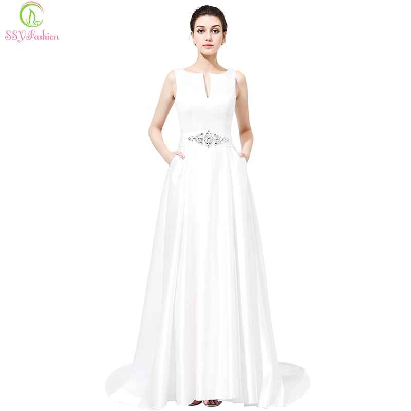 Bridal Luxury White Satin Evening Dress Backless With Crystal Party