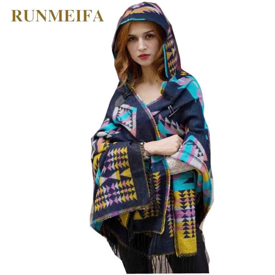 Runmeifa 2019 Winter Warm Poncho For Women Retro Geometric Cape