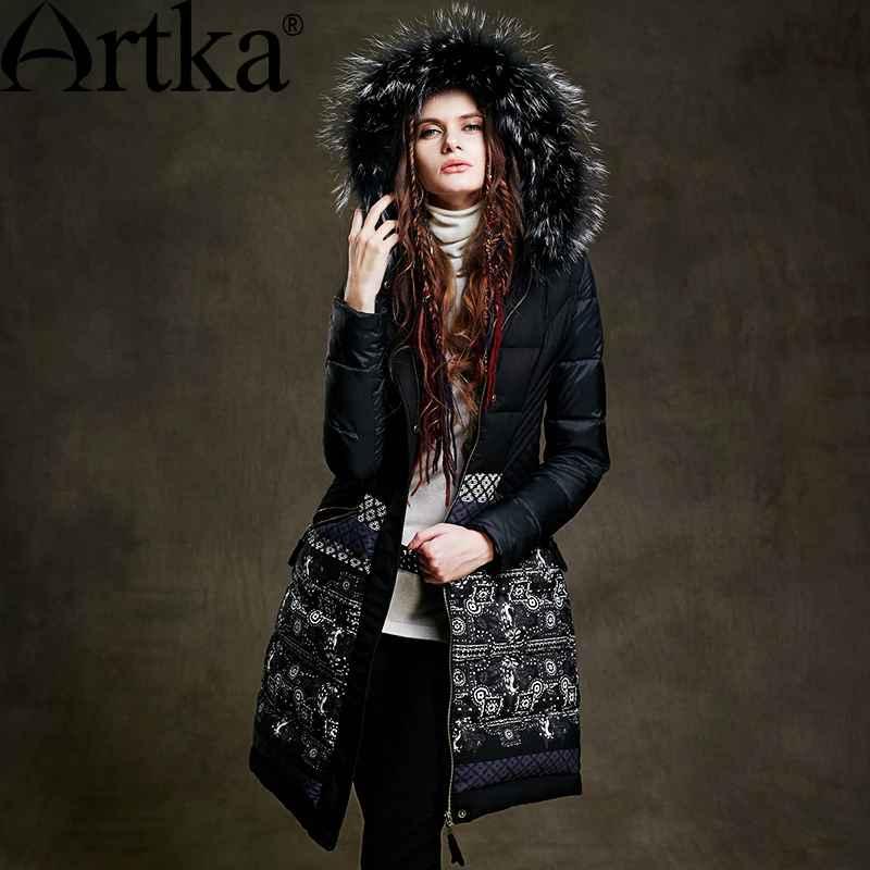 Artka Fur Parka Women s Winter Jacket With Hood 2018 Black