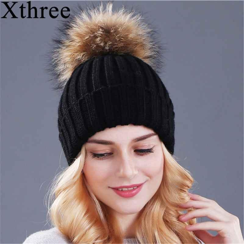 Xthree Mink And Fox Fur Ball Cap Pom Poms Winter
