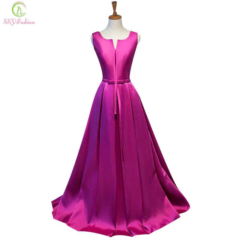 Simple Thick Satin Sleeveless Floor-Length Long Evening Dress Bridal Banquet