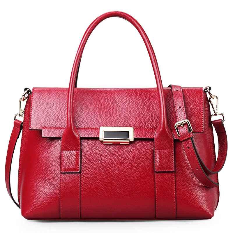 Luxury Women Handbags Real Leather Top-Handle Black Tote Bag Qiwang