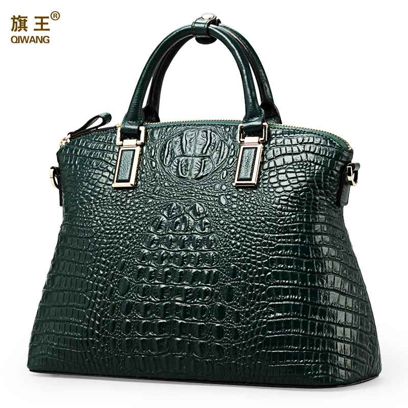 Qiwang Authentic Women Crocodile Bag 100% Genuine Leather Women Handbag