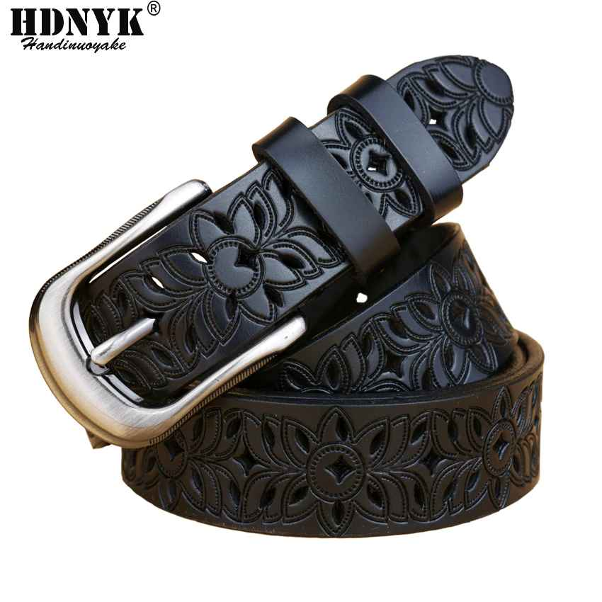 New Fashion Women Belt Hot Ladies Real Cow Leather Hollow
