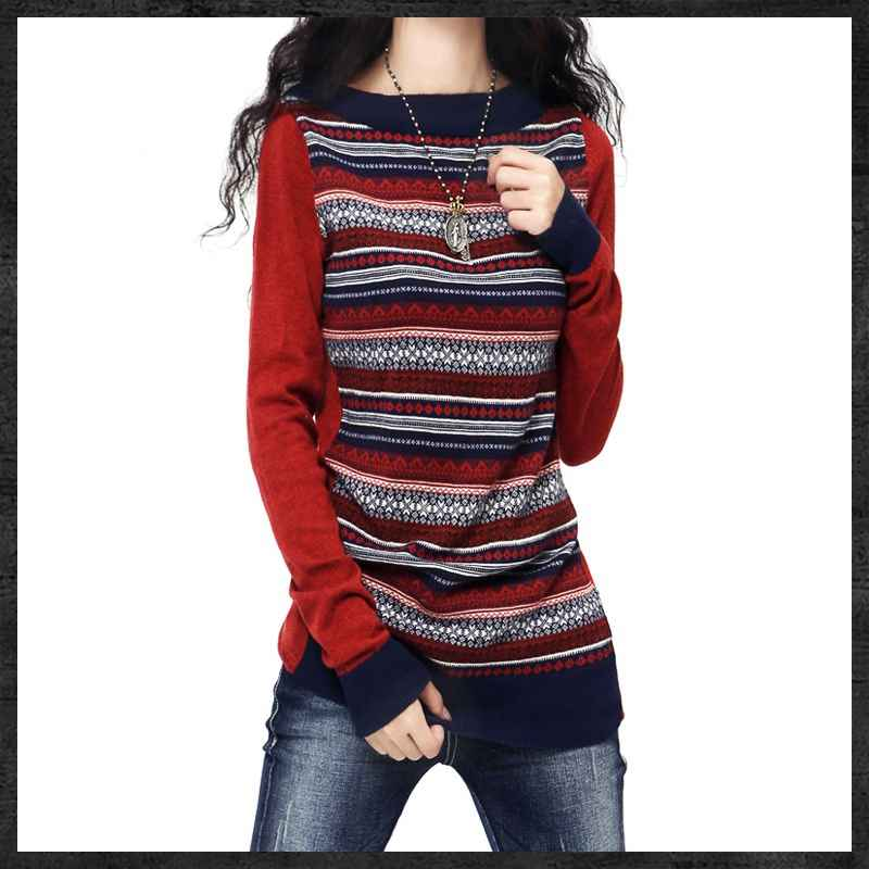 Women s Crewneck Long Artkas Style Knitted Cashmere Sweaters And Pullovers