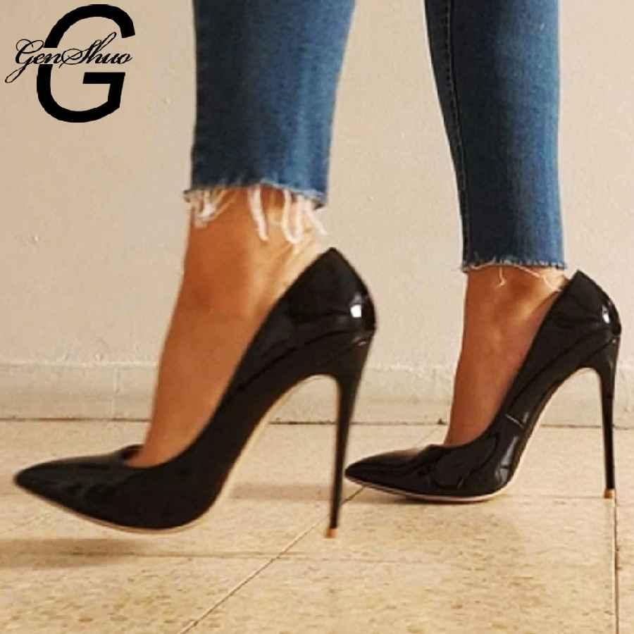 Genshuo High Heels 12cm Black Pumps Silver High Heels Wedding