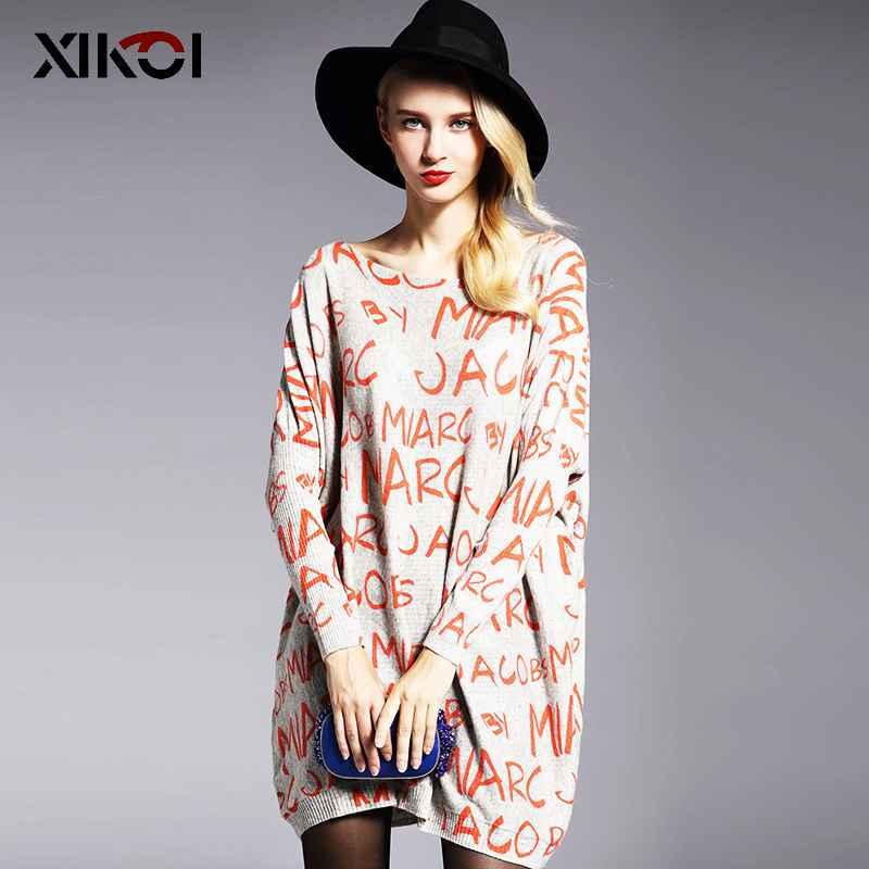 Xikoi Oversize Women Sweaters Casual Long Batwing Sleeve Letter Print