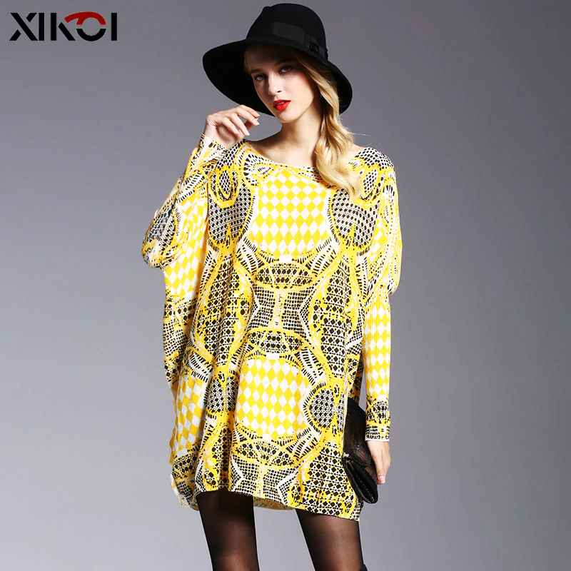 2019 Fall New Sweater Women Oversized Yellow Dress Casual Print