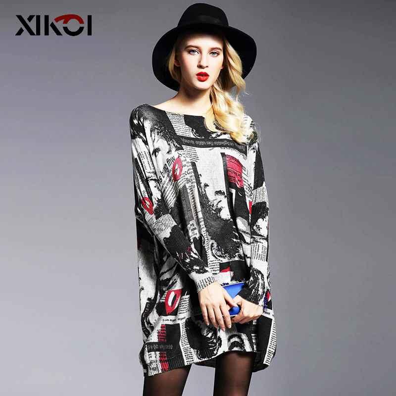 Xikoi 2019 Women Oversized Sweater Dress Autumn Pullovers Batwing Sleeve