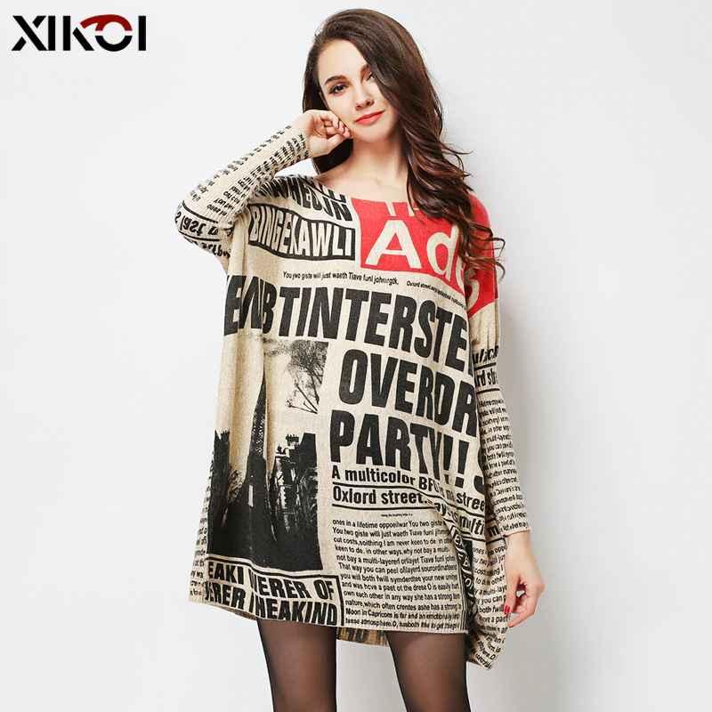 Xikoi Long Oversize Sweater Women Jumper Casual Batwing Sleeve Print