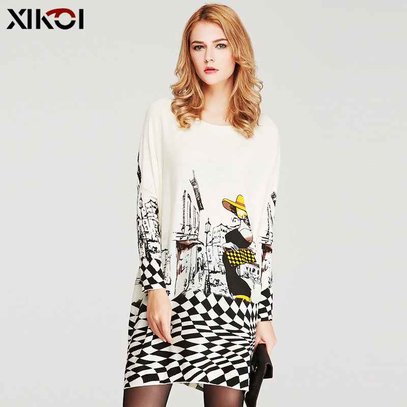 Xikoi 2019 Winter Clothes Oversized Sweaters For Women Knitted Print