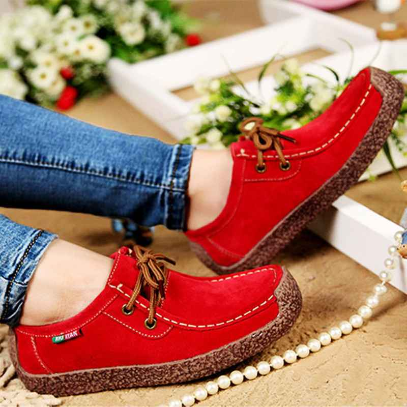 Lace-Up Women Flats Comfortable Summer Loafers Women Shoes Breathable Leather