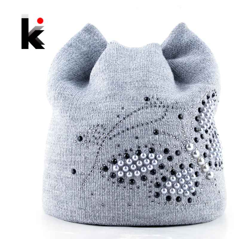 Winter Cat Beanie Hat Ladies Knit Hats For Women Beanies