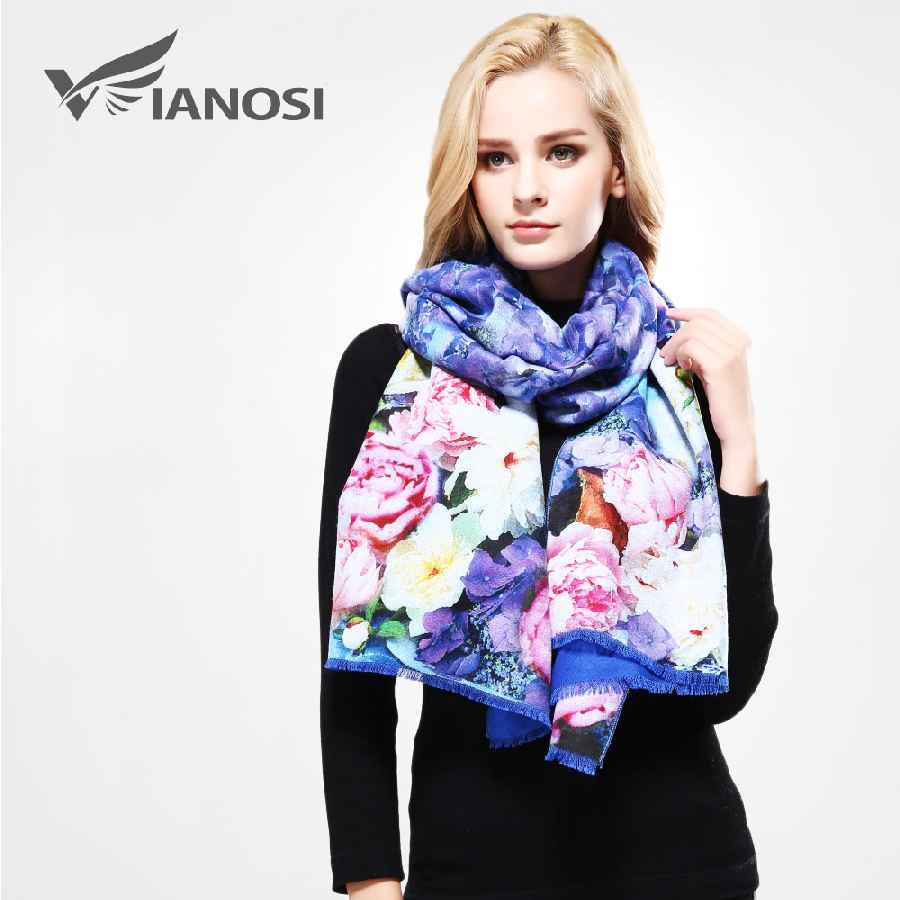 Luxury Winter Scarf Woman Digital Printed Female Brand Soft Wool