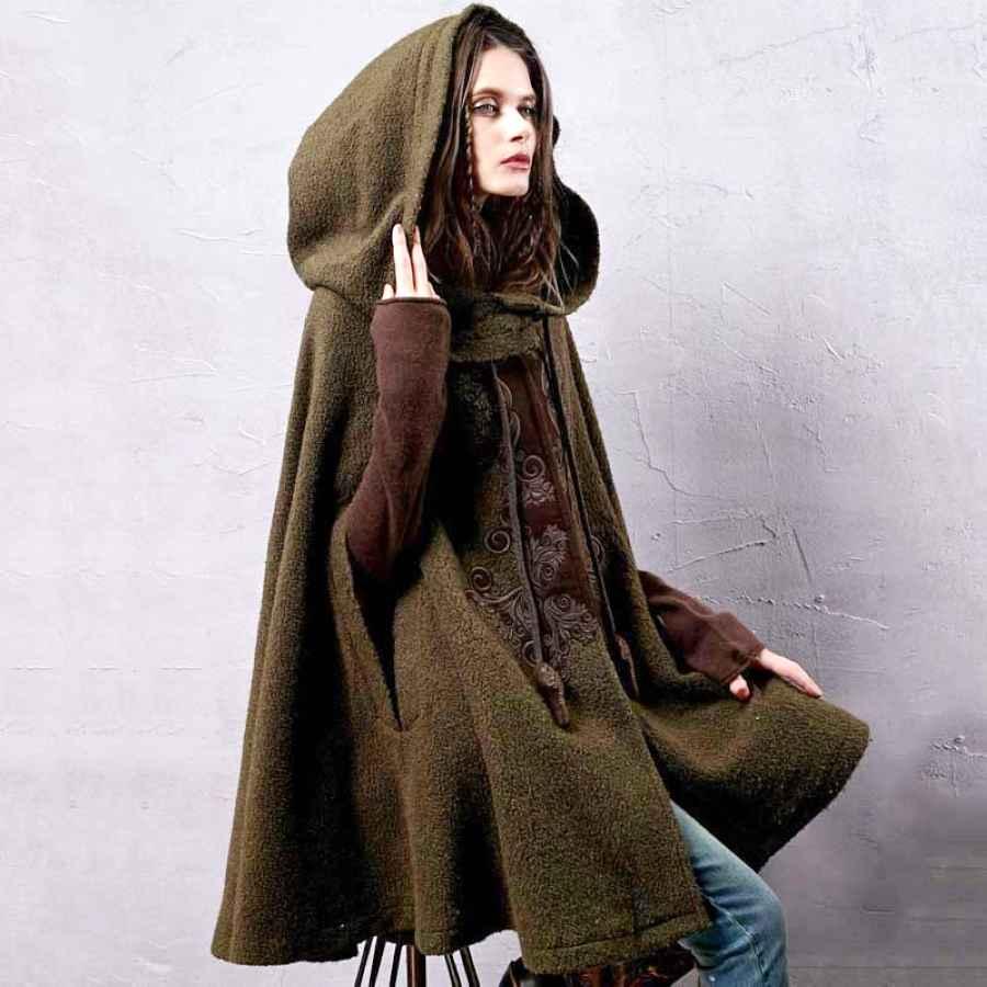 Artka Women s Winter New Vintage Warm Woolen Hoodie Cloak Coat