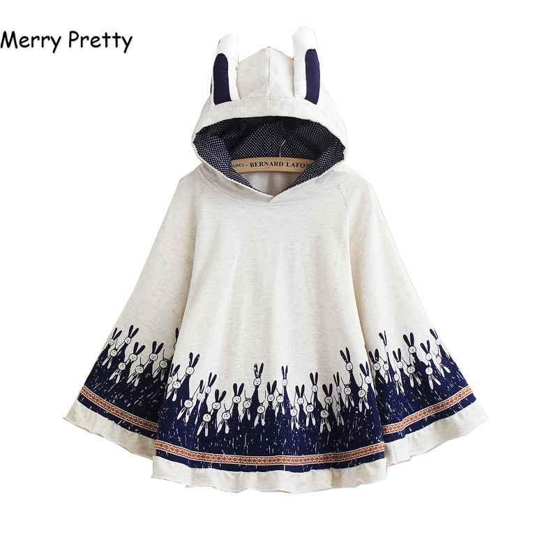 Merry Pretty Cloak Outerwear Women Autumn Rabbit Print Ear Stereo