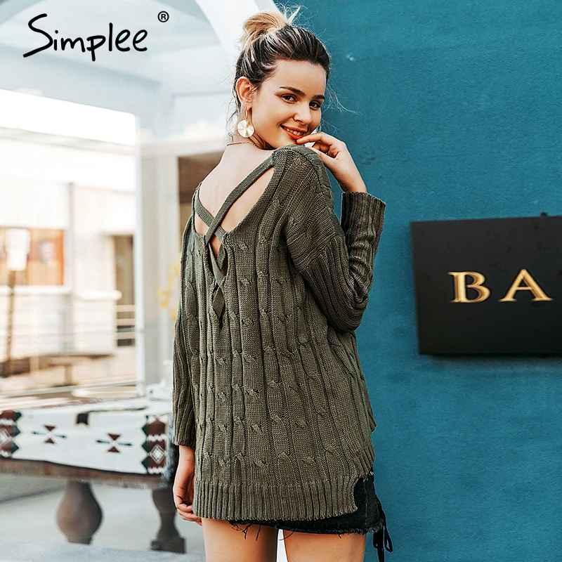 Autumn Cross Top Backless Knitted Sweater Women 2018oversized Winter Knitwear
