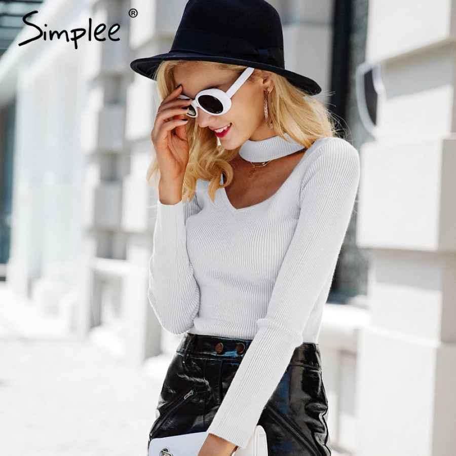Elegant Halter Knitted Sweater Autumn Winter White Short Pullover Women