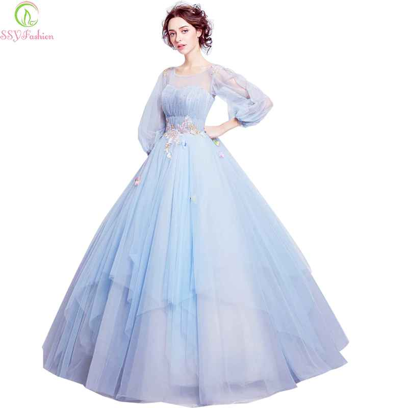 Sweet Light Blue Flower Fairy Princess Prom Dress Transparent Long