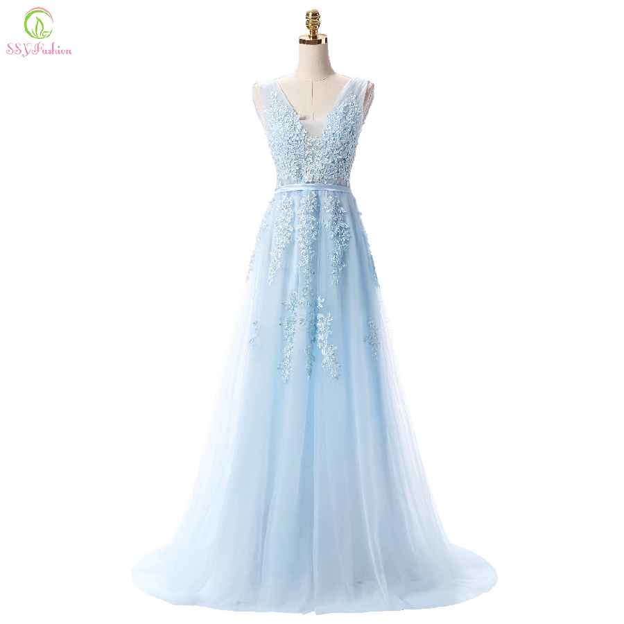 Hot Sell Sweet Light Blue Lace V-Neck Lacing Long Evening