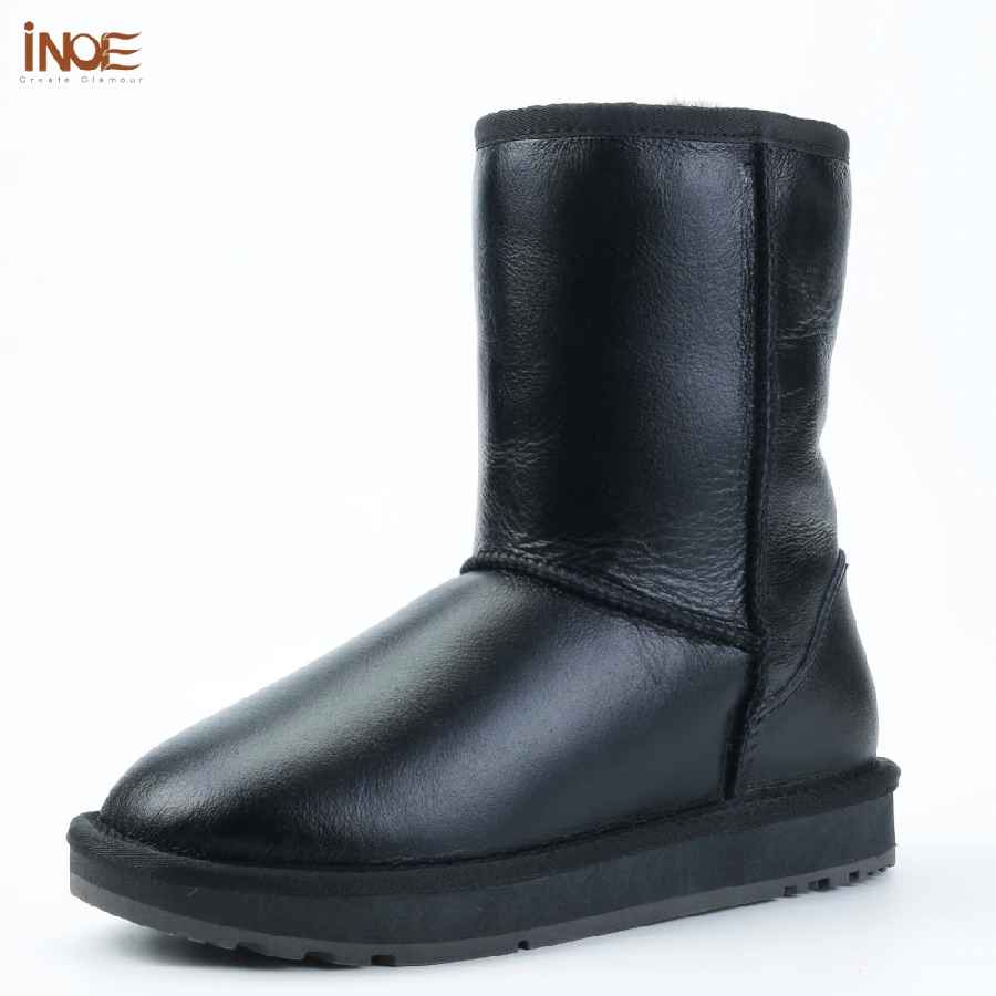 Inoe Classic Sheepskin Leather Wool Fur Lined Women Mid-Calf Winter