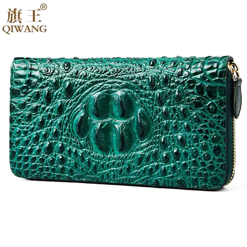 Qiwang Women Wallets Crocodile Head And Tail Wallet Purse For