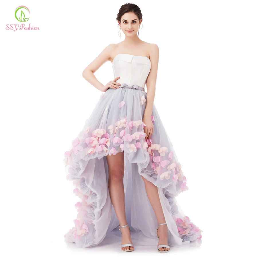 Strapless Sleeveless Short Front Long Back Lace Flower Evening Dress