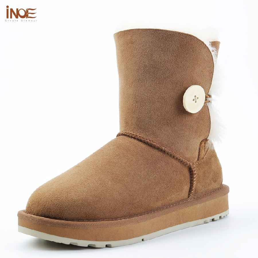 Inoe Real Sheepskin Suede Leather Women Short Winter Snow Boots