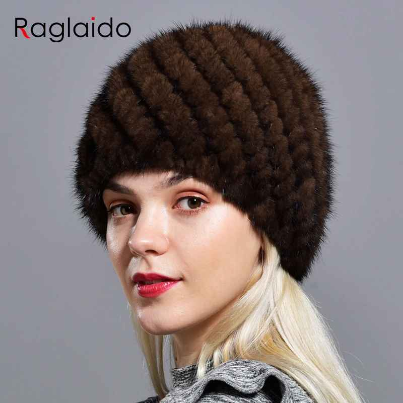 Raglaido Knitted Mink Fur Hats For Women Genuine Natural Fur