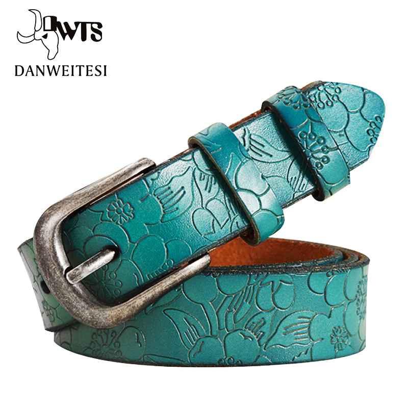 DwtsBelts Women Thin Genuine Leather Belt Womens 6 Colour Floral