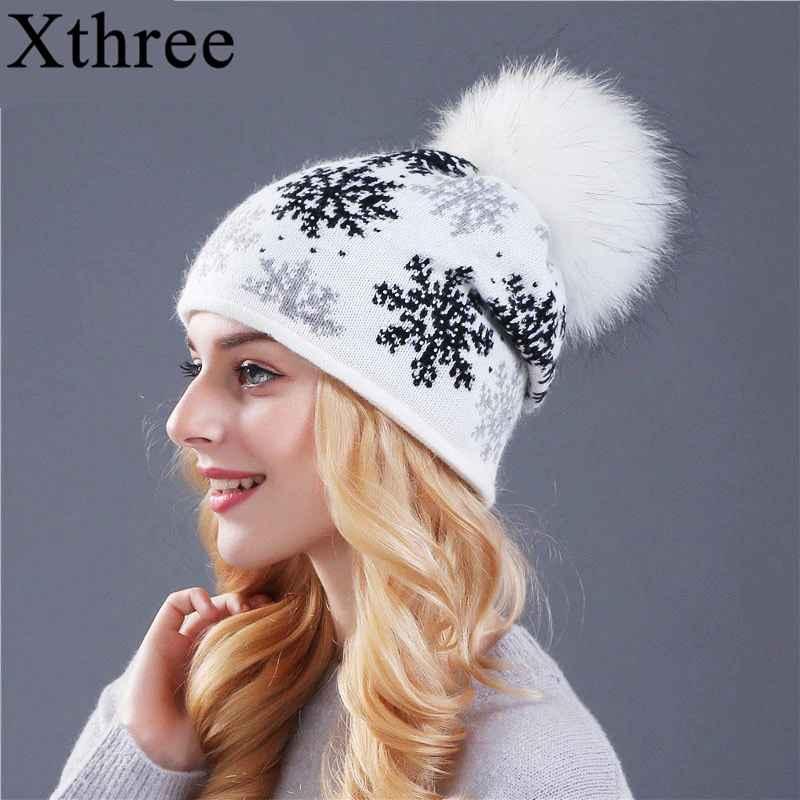 Xthree Real Mink Pom Poms Wool Rabbit Fur Knitted Hat