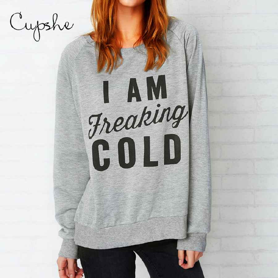 Cupshe Casual Freaking Cold Sweatshirt Letter Print Casual Top Autumn