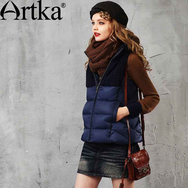 Artka Women s Autumn&Winter New 3 Colors Patchwork Down Vest Vintage