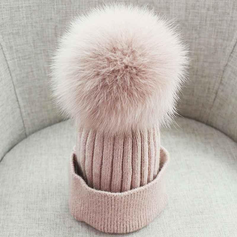 Women Beanies Raccoon Fur Pom Poms Wool Hat Beanie Knitted