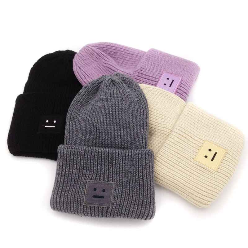 Embroidery Square Smile Winter Knitted Hats For Women Unisex Skulliles