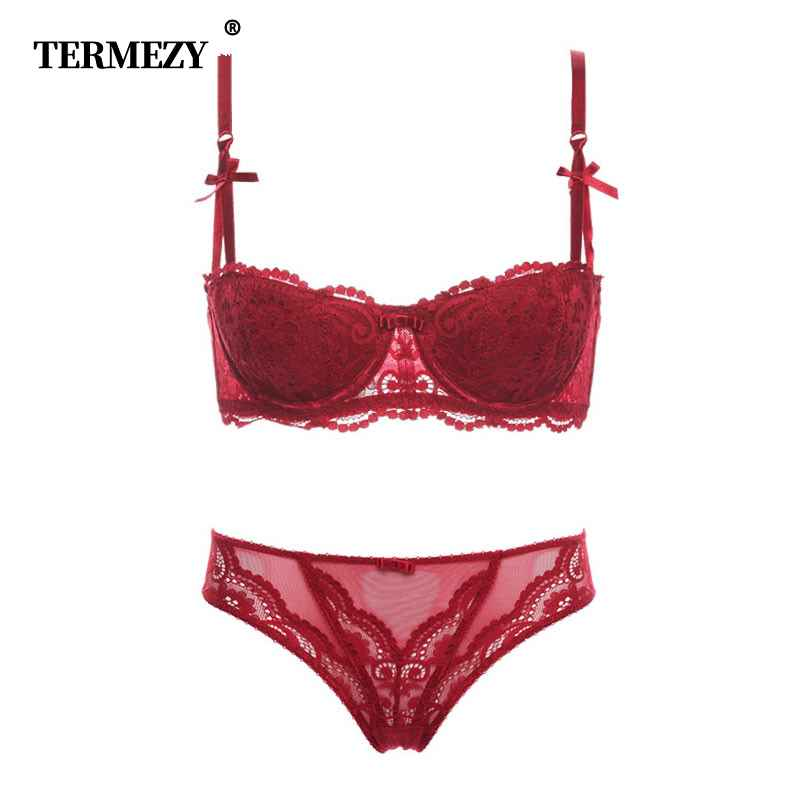 Termezy Fashion Sexy Bra Set Underwear Intimates Embroidery Lace Lingerie