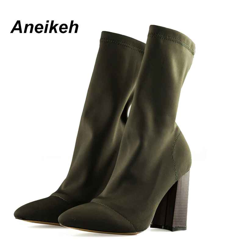 Aneikeh Womens Boots Pointed Toe Yarn Elastic Ankle Boots Thick