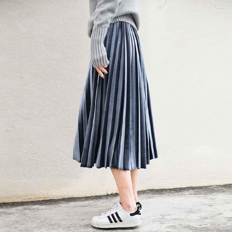 Skirts women long metallic silver maxi pleated skirt midi skirt