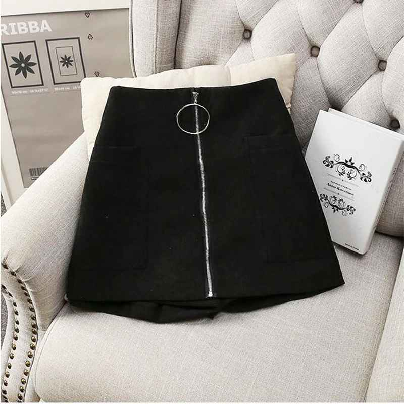 Shorts mumuzi thick cotton blends shorts black wide leg trousers