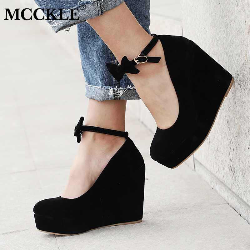 Mcckle Women High Heels Shoes Plus Size Platform Wedges Female