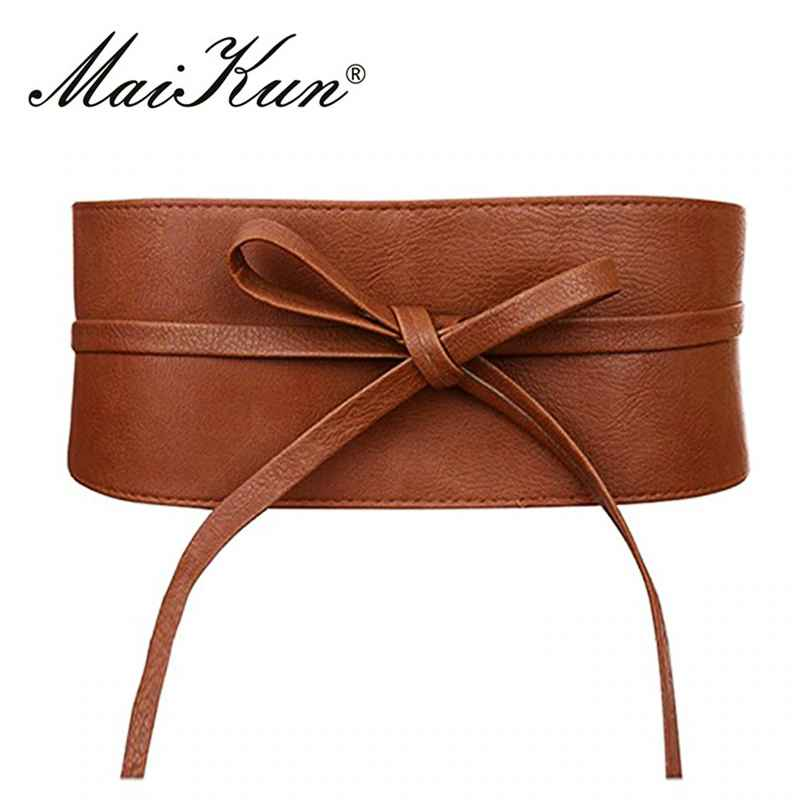 Boho Belt For Women Bowknot Faux Leather Wrap Around Obi